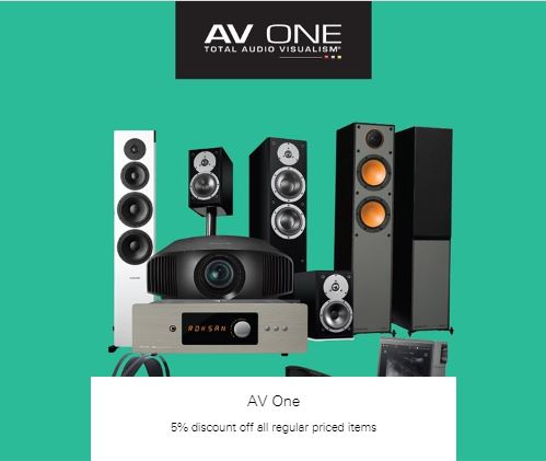 5% discount off all regular priced items at AV One