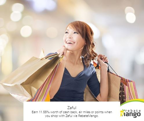 Earn 11.55% worth of cash back, air miles or points when you shop with Zaful via RebateMango