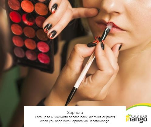Earn up to 6.6% worth of cash back, air miles or points when you shop with Sephora via RebateMango