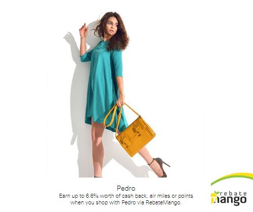 Earn up to 6.6% worth of cash back, air miles or points when you shop with Pedro via RebateMango at Pedro