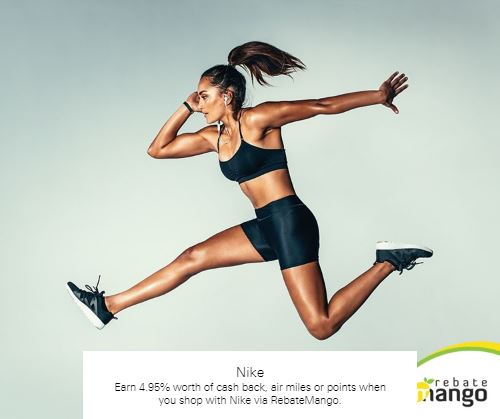 Earn 4.95% worth of cash back, air miles or points when you shop with Nike via RebateMango
