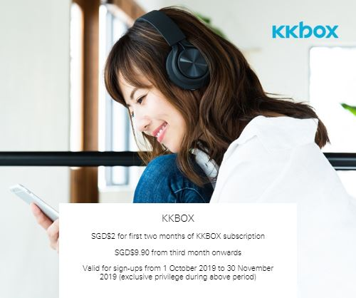 SGD$9.90 from third month onwards at KKBOX