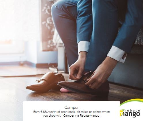 Earn 6.6% worth of cash back, air miles or points when you shop with Camper via RebateMango