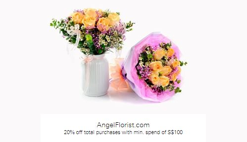 20% off total purchases with min. spend of S$100 at AngelFlorist.com