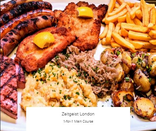 1-for-1 Main Course at Zeitgeist London