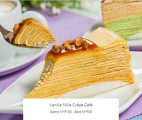 Spend MYR100 - Save MYR30 at Vanilla Mille Crêpe Café