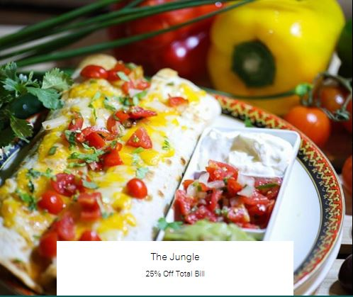 25% Off Total Bill at The Jungle