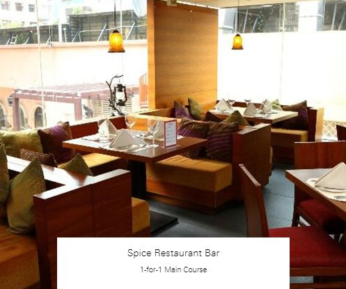 1-for-1 Main Course at Spice Restaurant Bar