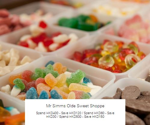 Spend HKD400 - Save HKD120 at Mr Simms Olde Sweet Shoppe