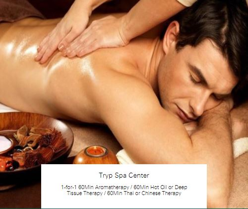1-for-1 60Min Hot Oil or Deep Tissue Therapy at Tryp Spa Center