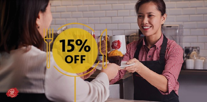 Be it café latte, cappuccino or Americano, get your daily coffee fix at San Francisco Coffee and enjoy 15% off normal-priced items
