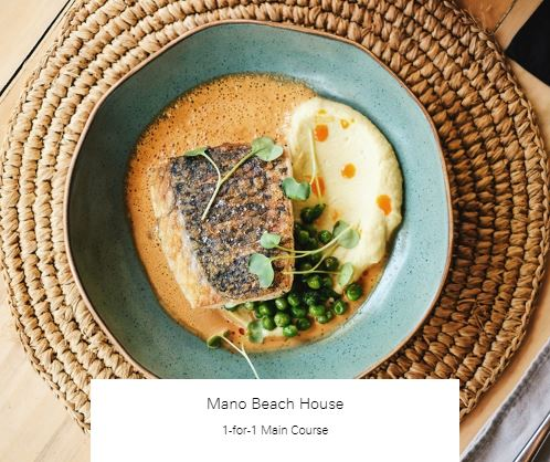 1-for-1 Main Course at Mano Beach House
