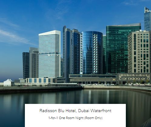 1-for-1 One Room Night (Room Only) at Radisson Blu Hotel, Dubai Waterfront