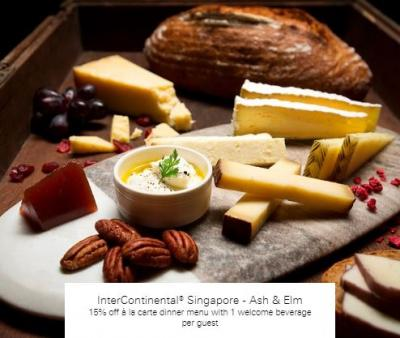 15% off à la carte dinner at InterContinental® Singapore - Ash & Elm