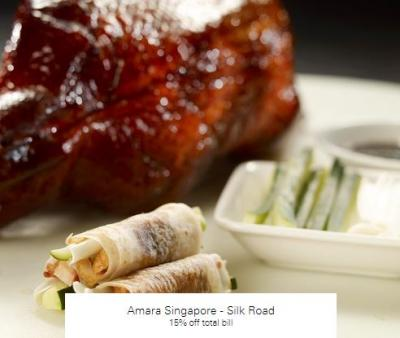 15% off total bill at Amara Singapore - Silk Road